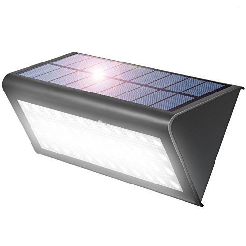 Aglaia Focos Led Exterior, 38 LED Luz Solares con Sensor De Movimiento, 4W , IP65 Impermeabile, Cabezal Sensor Gran Angular Mejorado de 120°, para Jardín, Patios, Cercados, Caminerías, Garaje