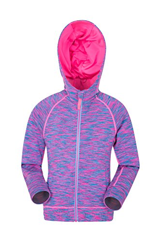 Mountain Warehouse Kayleigh Girls Stripe Hoody - Fully Lined Hoodie Childrens Jacket, Warmth, Front Pockets, Full Zip Kids Summer Coat - for Travelling & Daily Use Pink 9-10 Years