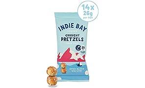 Indie Bay Snacks Pretzel Bites - Healthy Snack - Source of Protein & Fibre - Vegan - Spelt & Rock Salt (14 x 26g)