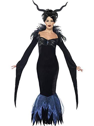 Karnevalsbud - Damen Frauen Kostüm Hochwertiges Königin der Raben Kleid incl Federn, Maleficent Queen of Crows Dress with Feathers, perfekt für Halloween Karneval und Fasching, XL, Schwarz