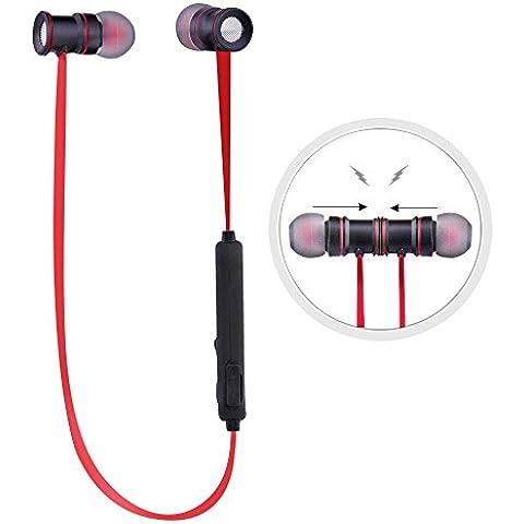Ecandy Deporte Bluetooth 4.0 Auricular cancelación de ruido Correr Llamando auriculares S3020 ISSC 2020 V4.1 Soporte manos libres para iPhone 6 6 + 3G 3GS 4 4S 5 5C 5S iPad 2, iPad 3 Ipad 4, Ipad Mini, iPod touch Samsung Galaxy S3 i9300 S4 i9600 9500 Nota 2 Nota 3 Nota 4 HTC Blackberry. (negro+rojo)