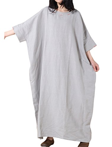 MatchLife Femme Batwing Embroidery Grande Taille Longues Robe Style1-Gris