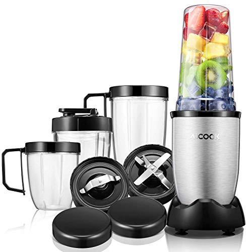 Standmixer, Aicook Smoothie Maker, 900W Hochleistungsmixer Smoothie Mixer mit 4 BPA-freien Tritan Trinkflasche, 2 Edelstahlklingen, Silber