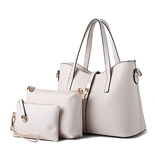 Un insieme di tre pezzi Womens Fashion Borsa in pelle sintetica borsa da viaggio borsa a tracolla Hot Travel Bag bianca