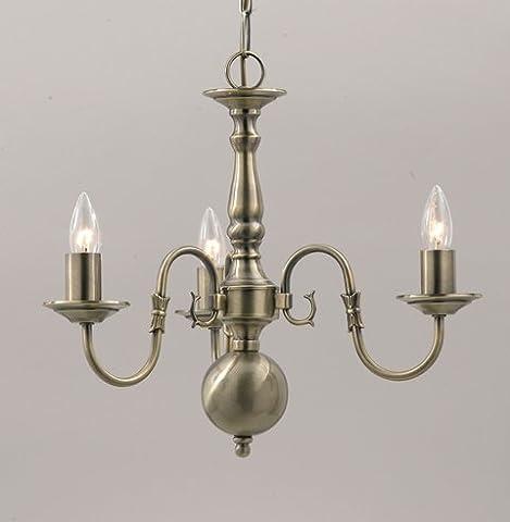Flemish 3 Light Chandelier Pewter