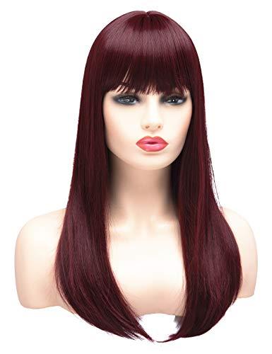 BESTUNG Lange Gerade Perücken für Frauen Damen Synthetik Full Hair Natural Burgund Wein Rot Ombre Perücke mit Bang für Cosplay Kostüm oder ()
