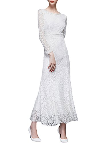 Azbro Women's Long Sleeve Slim Fit Lace Maxi Evening Dress Black