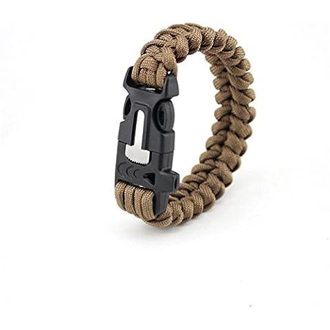MHGAO Kit di emergenza bracciale, corde del paracadute, Fire Starter, bussola, utensile da taglio, sopravvivenza attrezzi da pesca, esca, Whistle, fibbia di chiusura , 2 - Semplice Taglio Delle Pietre Preziose