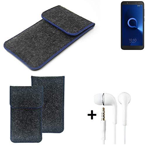 K-S-Trade® Filz Schutz Hülle Für -Alcatel 1C Single SIM- Schutzhülle Filztasche Pouch Tasche Handyhülle Filzhülle Dunkelgrau, Blauer Rand Rand + Kopfhörer