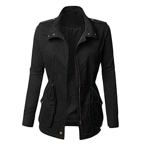Energy Women's Parka Outwear Loose Hoodie Tunic Zipper Trench Coat Cardigan Black S Sleeve Belted Coat