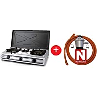 ElectrodomesticosN1 Pack Hornillo a Gas Orbegozo fo 3510, INOX 3 Fuegos + Regulador de Gas butano HVG, Tubo Manguera 1,5 Metros, Abrazaderas
