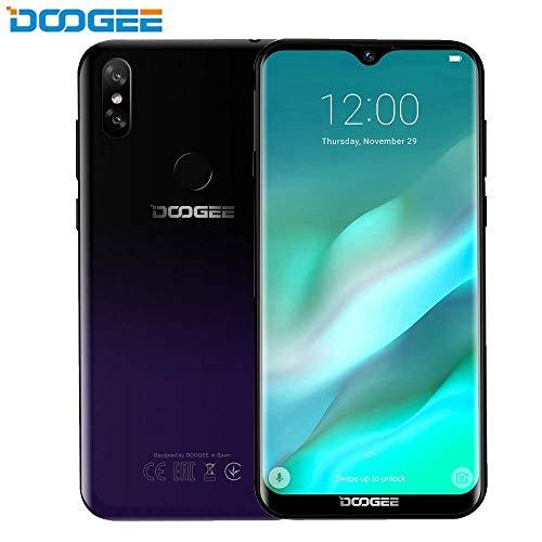 "Doogee Y8 Smartphone - Android 9.0 6.1""FHD 19: 9 Display Waterdrop schermo 3400mAh MTK6739 Quad Core 3 GB di RAM 16 GB ROM 4G LTE Impronta digitale Sblocco Dual SIM Card Standby Cellulare (Viola)"