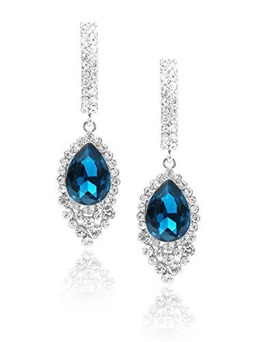6.7 x 2cm / 2.6\ x 0.8\ (L*W) , Peacock Blue : Generic Women Fashion Rhinestone Drop Dangle Hook Charming Earring Ear Stud