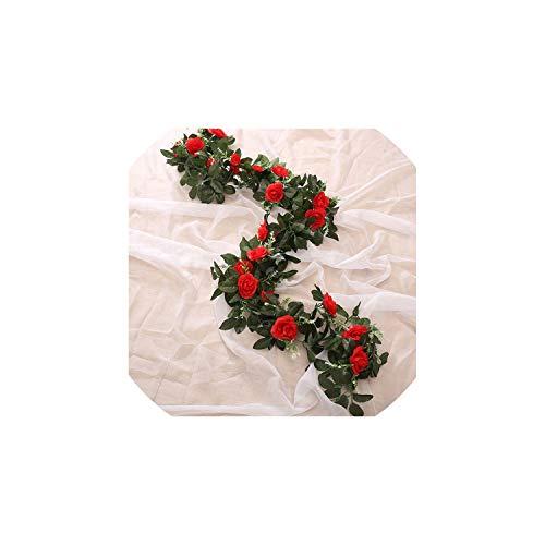 mallcentral-EU Artificial Flower 3pc 240cm künstliche Blumen-Silk Blumen Rosen-Blatt Garland Rebe Efeu Hochzeit Blumen-Garten-Halloween Weihnachten Blumen, rote -