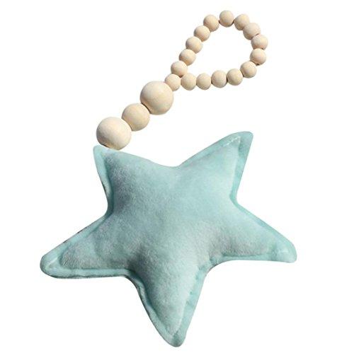 Foto Requisiten Baby Kinderzimmer Hängen Baby Holzschmuck Mond Stern Herz SOMESUN Baby Spielzeug (Star, Grün)