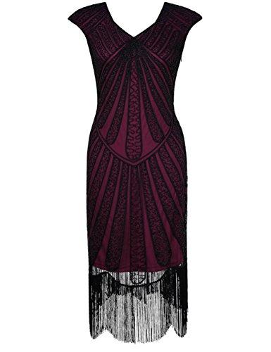 PrettyGuide Damen 1920er CocktailKleid Perlen Art Deco Flapper Charleston Kleid L (Kleider Gatsby)