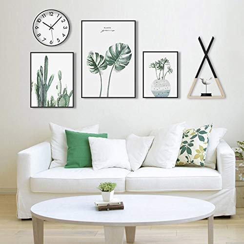 Grün-sofa-satz (Chitty Grüne Pflanze Dekoration malerei schwarz bilderrahmen wandmalerei wandbilder 3 Teile/Satz von einfachen modernen Wohnzimmer Sofa Hotel HD Micro Spray Dekorativ (Size : S))