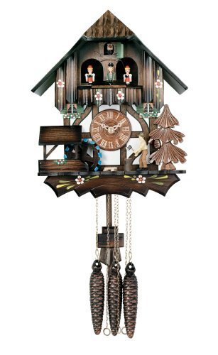 River City Clocks One Day Musical Cuckoo Clock Cottage with Dancers, Woodchopper, and Waterwheel - 12 Inches Tall - Model # MD442-12P by River City Cuckoo Clock - Cottage, Cuckoo Clock