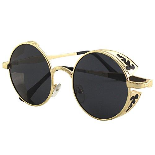 CGID Retro Sonnenbrille im Steampunk Stil, runder Metallrahmen, polarisiert, für Männer, (Steampunk Für Outfits Männer)