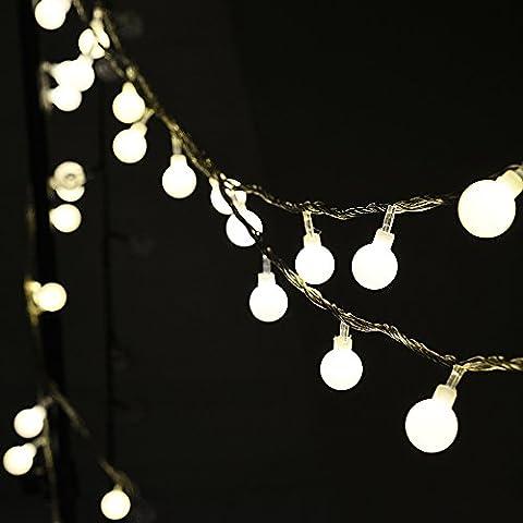 Auben Guirlande Lumineuses Boules, 10 Mètres 100 LEDs Blanc Chaud, Décoration Pour Nouvel An Noël Jardin Mariage Terrasse Pelouse Avec Prise EU