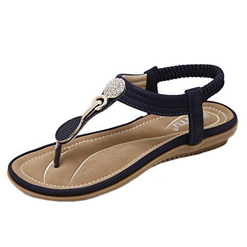 Sandale Femmes Ete,GongzhuMM Slippers Femmes Bohe Fashion Flat Large Size Sandales Casual Plage Chaussures