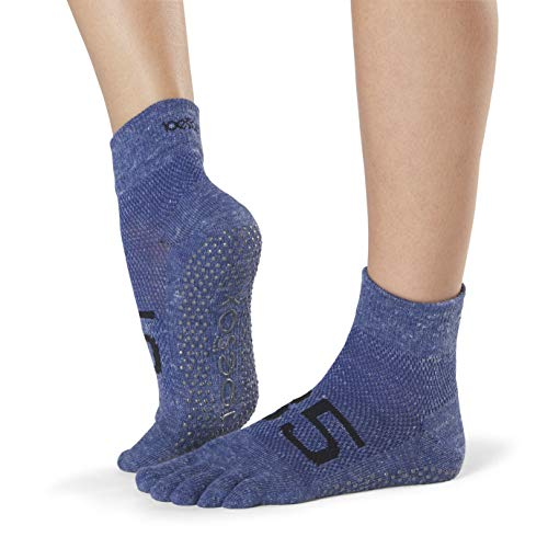 Toesox Damen Grip Pilates Barre Socks-Non Slip Ankle Full Toe for Yoga & Ballet, Jersey, Größe S