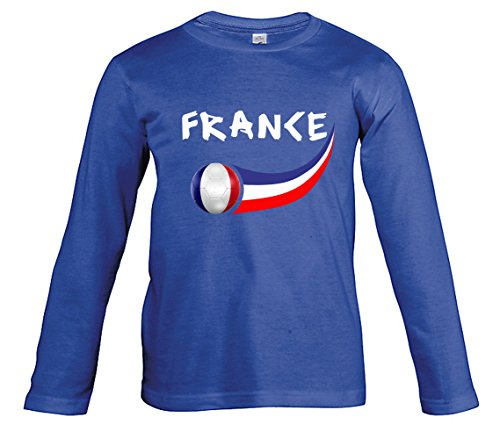 Supportershop Camiseta Fútbol Francia Royal L/S niño, T-shirt France royal L/S enfant, azul, 8 ans (talla del fabricante: 8 ans)
