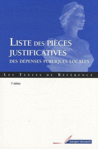 Liste des pièces justificatives des dépenses publiques locales par Berger-Levrault