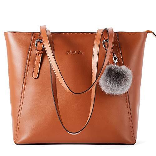Damen-designer-laptop-tasche Tote (BOSTANTEN Leder Handtaschen Damen Schultertaschen Frauen Designer Ledertasche 14 15 Zoll Laptoptasche Tote Bag Braun)