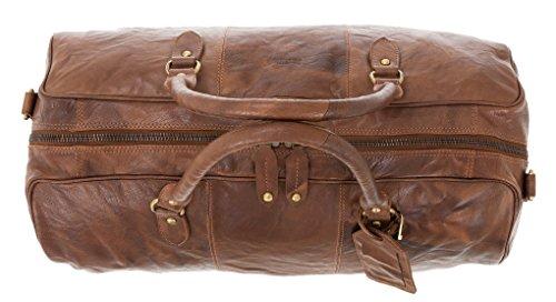 JUSTIFIED Leder Reisetasche Duffle Bag Cooper Weekender +beutel (Brown) Cognac