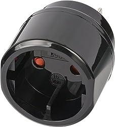Brennenstuhl Reisestecker / Reiseadapter (Reise-Steckdosenadapter für: USA, Japan Steckdose und Euro/Konturen-Stecker) Farbe: schwarz