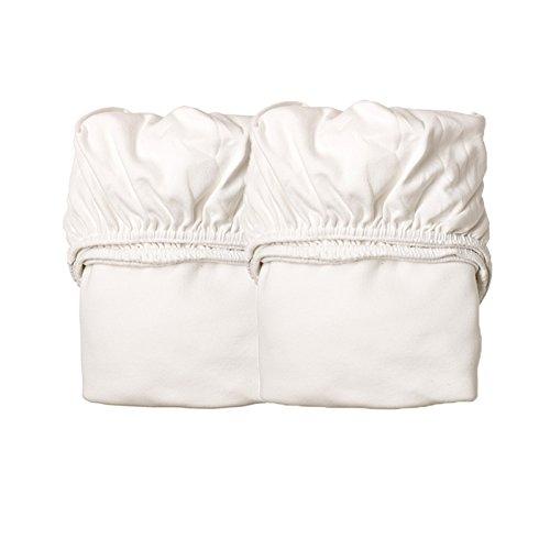 Preisvergleich Produktbild Leander Spannbettlaken aus Baumwolle für Wiege in Weiss (2-er Pack, Größe: 50x80)