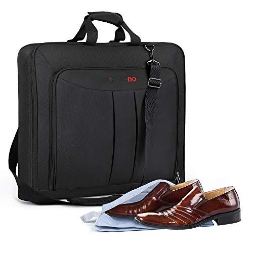 YOUNGDO Anzugtasche, Reise Kleidertasche, Zusammenklappbar Kleidersack Anzughülle mit Schuhbeutel, Verstellbarer Schultergurt, Anti-Falten für Geschäftsreisen, Schwarz Kleiderhülle Handgepäckstück