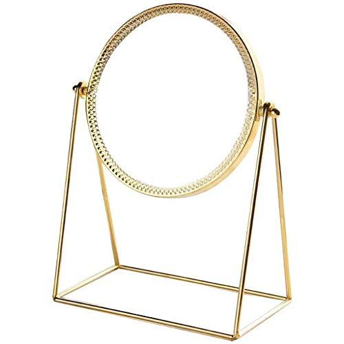Moderner Schminkspiegel (JIAX Moderner Runder Schminkspiegel, Einseitiger Kleiner Schreibtischspiegel, Metall, Schlafsaal-Kosmetikspiegel, Kleiner Runder Spiegel, Metallspiegel-Inneneinrichtung, Tragbarer Kosmetikspiegel)