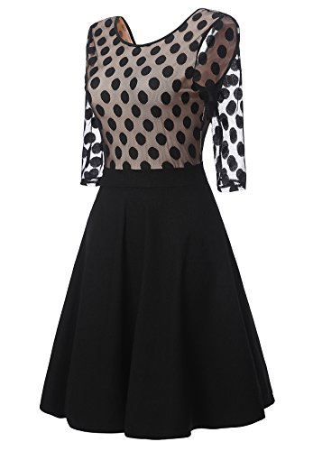 Gigileer Vintage Damen Kleider Pin Dots Swing Dress 1/2 Arm Knielang festlich Party schwarz XL -
