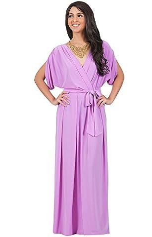 KOH KOH® Damen Batwing Maxikleid Dolman Ärmeln Graziös V-Ausschnitt, Farbe Violett / Lila, Größe L / (1920 Bride Kostüm)