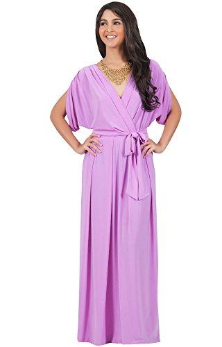 KOH KOH® Damen Batwing Maxikleid Dolman Ärmeln Graziös V-Ausschnitt, Farbe Violett / Lila, Größe M / (Halloween Kostüme Cute Maternity)