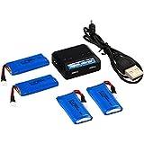 Cargador + 4Zas Batería LiPo 3.7 V 500mAh 25C para Hubsan X4 H107D H107C FPV BC513