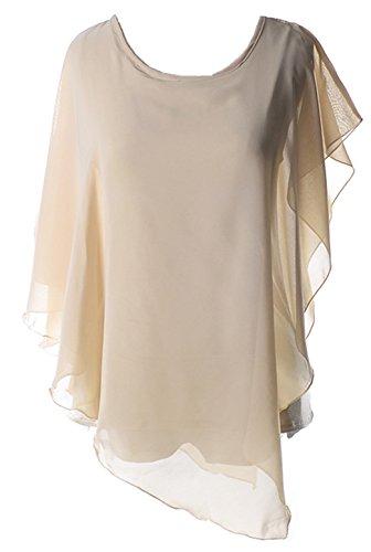 SZIVYSHI Batwing Dolman Sleeve Asymmetrisch Unregelmäßige Saum Rüschensaum Volant Rüschen Saum Chiffon Blouse Bluse Shirt Hemd T-Shirt Oberteil Top Beige M (Dolman Boho Sleeve Top)