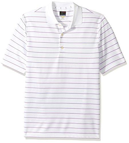 Greg Norman Herren Poloshirt Protek aus Mikro-Piqué gestreift Polo, Herren, Protek Micro Pique Stripe Polo, White/Light Orchid (Polo Micro-piqué)