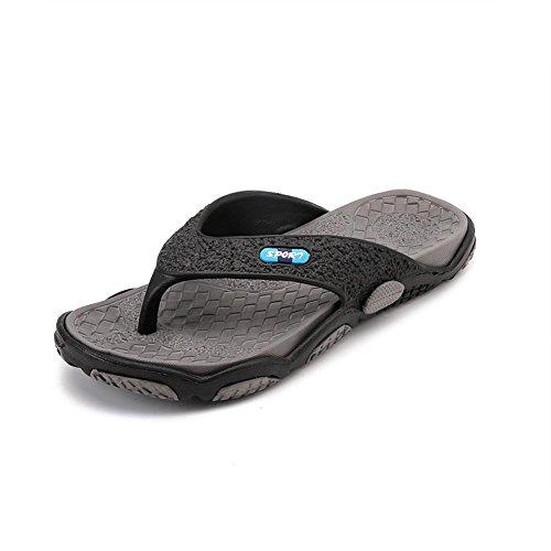 Tongs Chaussons Plage Svelte Sandale Pour Hommes Adulte Doux lumière Conception Confort Massage Preuve noir