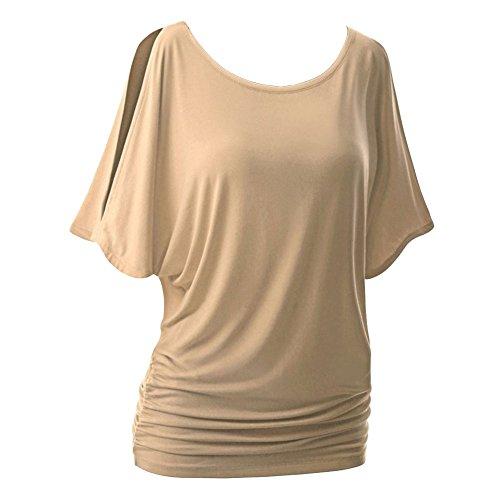 LaoZanA Damen Sommer Lose Rundhals Kurzarm T-Shirt Tunika Oberteile Bluse Kaki 4XL