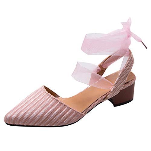 DOLDOA Sommerturnschuhe,Beiläufige Breathable Ineinander greifen-Schuh-gehende laufende Schuh-weiche untere Turnschuhe der Frauen (39 EU, Rosa) -