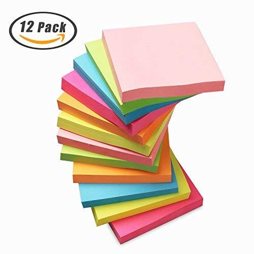 Haftnotiz Sticky Notes 3 X 3 Zoll Würfel Notizzettel 6 Neon Sortierte Farbe Bunt Haftnotizen Selbstklebend Memo Aufkleber für Büro, Haushalt, Schule - 12 Blöckes / 100 Blätter pro Blöcke