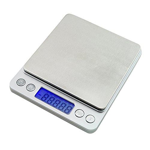 Especificacion:    Dimensiones: 127 mm * 106 mm * 19 mm    Color plata    Capacidad: 500 g    Precision: 0,01 g    Unidades: g / oz / gn / ct / ozt / TPM    Pantalla: LCD con luz de fondo    Potencia: AAA x 2 (no incluido)    El paquete incluido: ...
