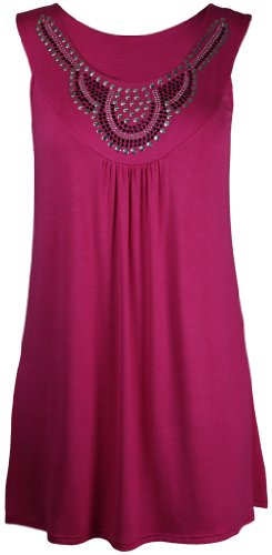 Purple Hanger - Débardeur Tunique T-shirt Long Femme Encolure Ronde Perles Clous Strass Sans Manche Grande Taille Neuf - Cerise, 50-52