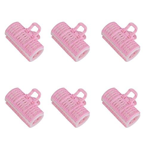 Lot de 6pcs Bigoudis Outil de Coiffure Styling Bricolage Style de Cheveux - Rose