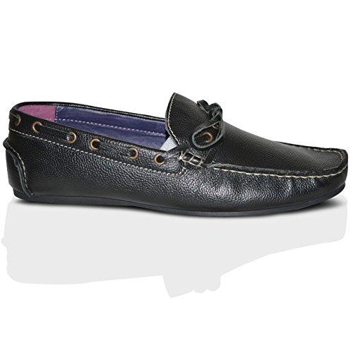 100% Leder Fahrer Schuhe Herren Neue Mode Halbschuhe Freizeitschuhe Schwarze Slipper