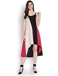 Abiti Bella Women's Black Solid Asymmetric Colorblocked Woven Dress