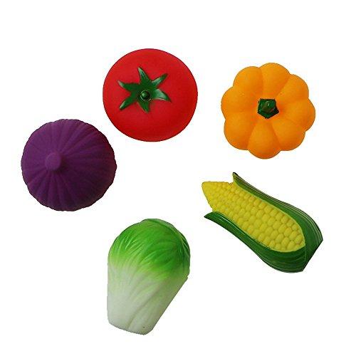 prevently Gemüse Quetschball Baby Wasser Spielzeug, sichere Silikon Badespielzeug (Chili, Chinakohl, Rotkohl, Tomaten, Mais)